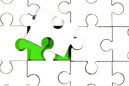 underlay: Blanco verde de Jigsaw Underlay con superpuestas Piece  Foto de archivo