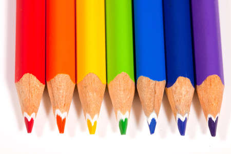 Pencils in Color of Rainbow on an Isolated White Background Stock Photo