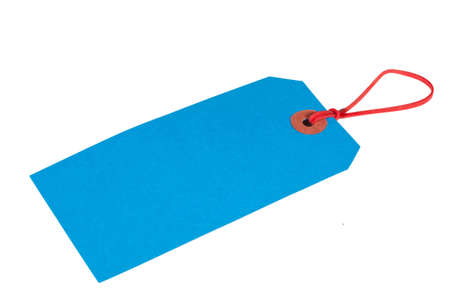 Blue Luggage Ticket With Red Elastic Band photo