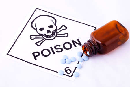 Blue Pills with Empty Bottle and Poison Warning Stock Photo