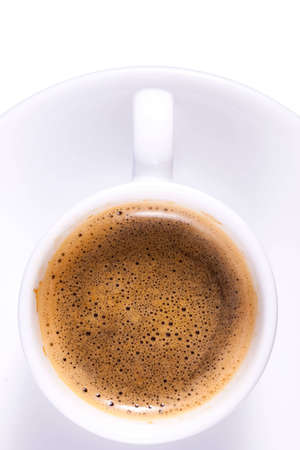 expresso: Expresso Coffee in Plain White Cup Tight Crop Stock Photo