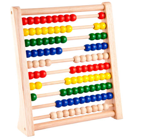 Abacus with multicolored beads and wooden frame