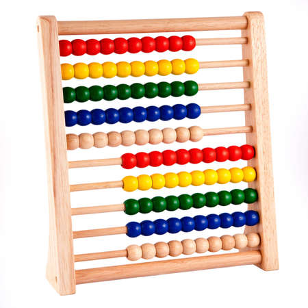 Abacus With Wooden Frame and brightly colored beads