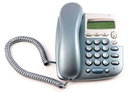 Modern Telephone With Receiver down on a white background Stock Photo