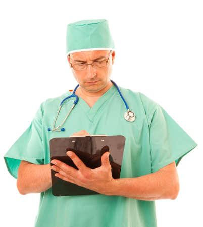Surgeon Writing on clipboard on white background