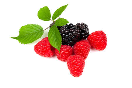 blackberry and raspberries in a pile with leaf