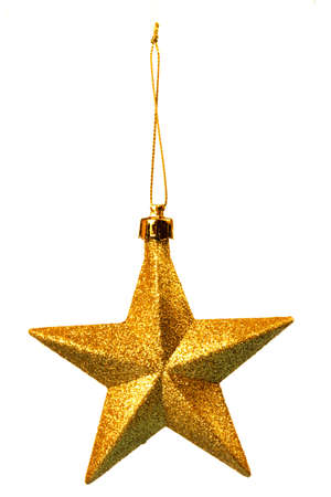 five pointed: Gold five pointed star christmas decoration for haging on tree Stock Photo