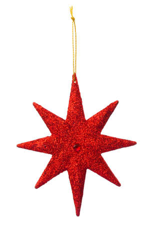 Red Star decoration for hanging on christmas tree Stock Photo