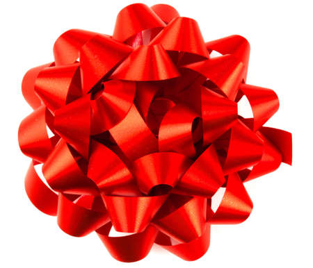 A bright shiny red parcel bow on white background