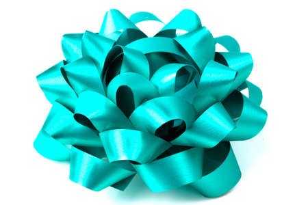 Bright shiny blue bow an a white background Stock Photo