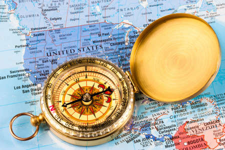 A map of the USA with a compass laid over it