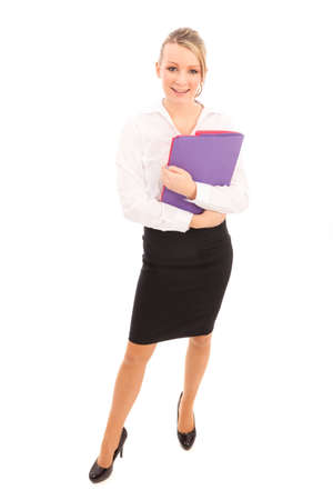 Business woman in a white shirt and black skirt holding bright colored files