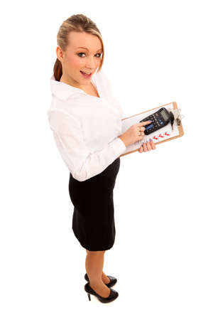 Business Woman in black skirt and white blouse holding a  clipboard with a checklist Stock Photo