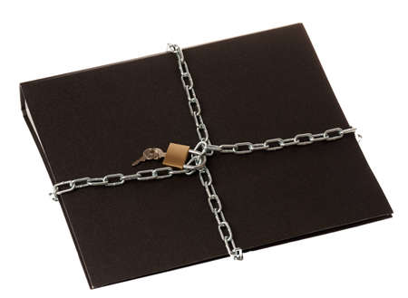 A black ring binder with a chain and padlock around it. Stock Photo - 9283533