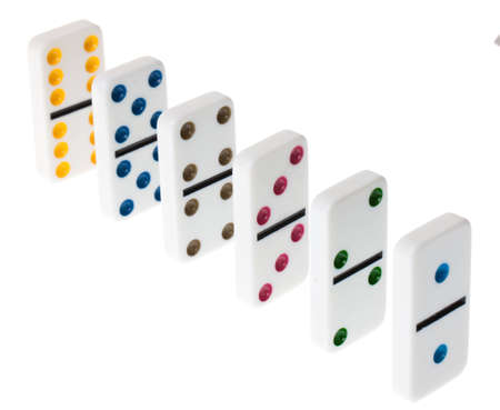A line of dominoes on an isolated white background