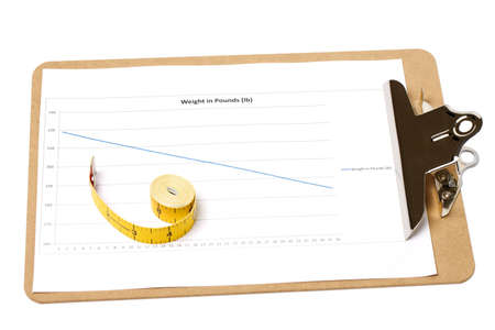 A clipboard with a weight loss chart with a rolled up tape measure on isolated white background