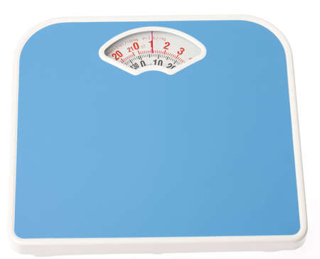 color scale: A blue bathroom scale on isloated white background Stock Photo