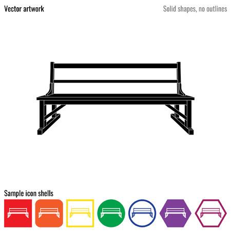 wooden stool: Bench garden outdoor vector icon glyph