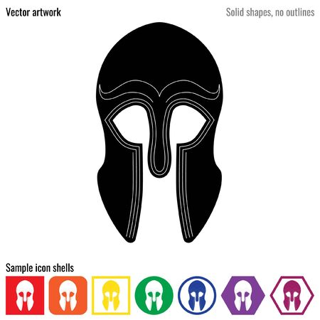 glyph: Greek war helmet ancient vector icon glyph Illustration