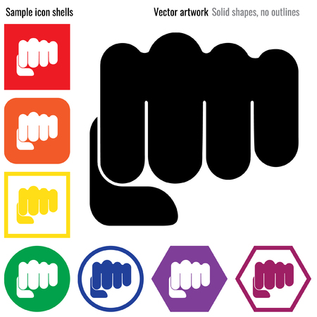 grasp: Fist punch power strength vector icon glyph Illustration