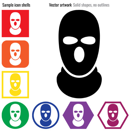 Balaclava thug 범죄 SAS 마스크 아이콘 글리프 일러스트