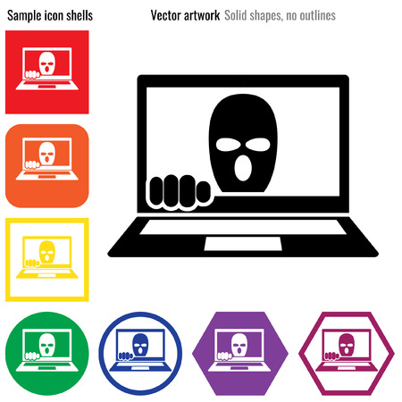 stalking: Internet cyber crime security icon glyph