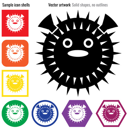 pufferfish: Pufferfish vector icon glyph Illustration