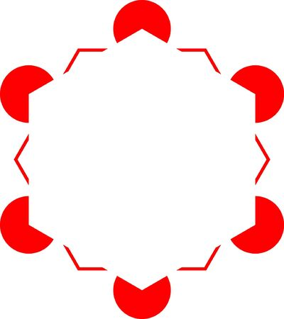 Hexagon variation of the Kanizsa Optical Illusion  - editable vector