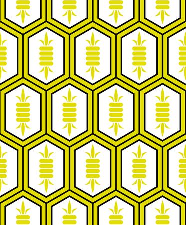 elongated: Traditional Japanese style Kikko (Tortoise shell plate armour of the samurai) - Elongated hexagon tile pattern Illustration