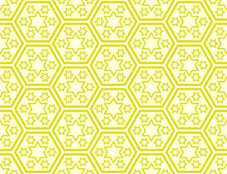 Traditional Japanese style Seven-days-of-the-week Stars pattern within kikko (tortoise shell) hexagon pattern