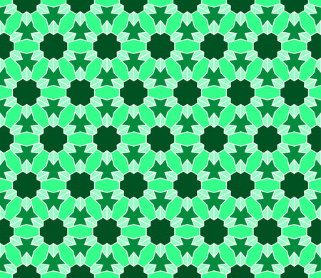 Geometric interlocking tessellation pattern in hexagonal layout similar to Islamic traditional patterns - seamless editable repeating vector background wallpaper Illustration