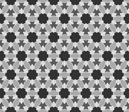 Geometric interlocking tessellation pattern in hexagonal layout similar to Islamic traditional patterns - seamless editable repeating vector background wallpaper Illustration