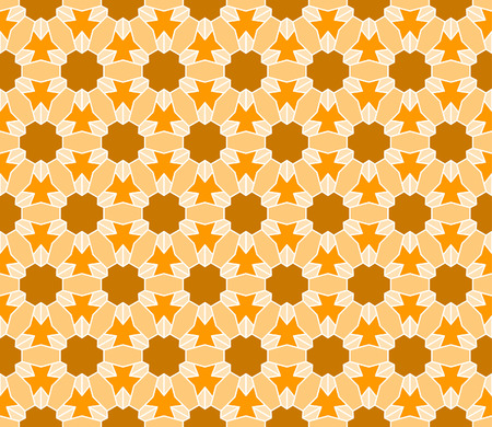 distinctive: Geometric interlocking tessellation pattern in hexagonal layout similar to Islamic traditional patterns - seamless editable repeating vector background wallpaper Illustration