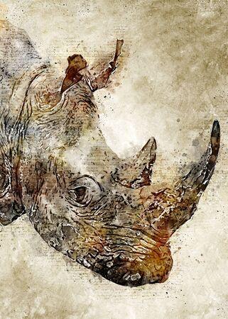Rhino Head Vintage Watercolor Art