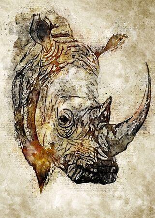 Rhino Vintage Watercolor Art Stok Fotoğraf