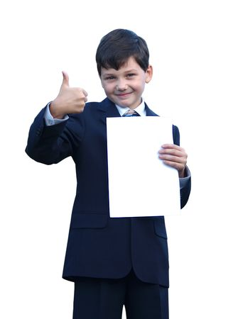 Schoolboy in suit show thumbs up and smiling, on white background