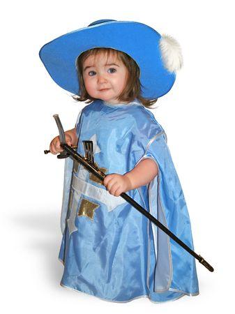 mosquetero: Niza beb� en traje azul mosquetero