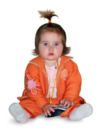 1 y.o.  girl with computer keyboard Stock Photo - 2890694