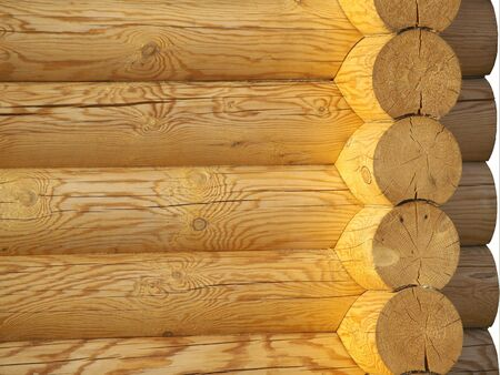 Wooden wall corner, light yellow pine Stock Photo