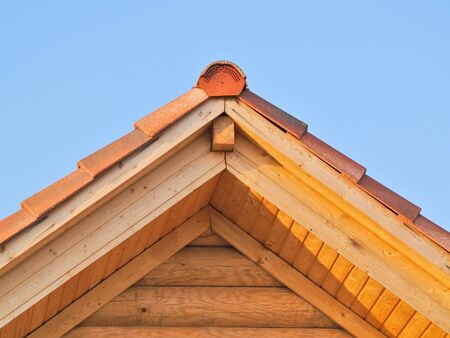 New yellow pine wooden roof