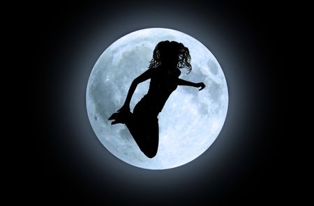 Black silhouette of jumping girl in front of moon