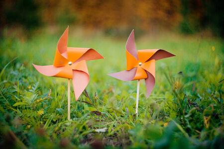 オレンジ色の風車