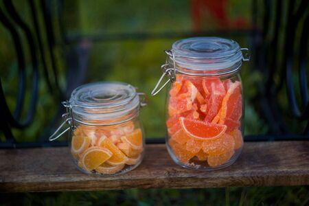 Fruit jelly slices in jars