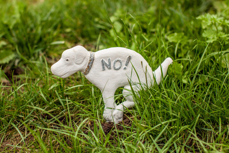 Dog statue prohibiting dogs on the lawn