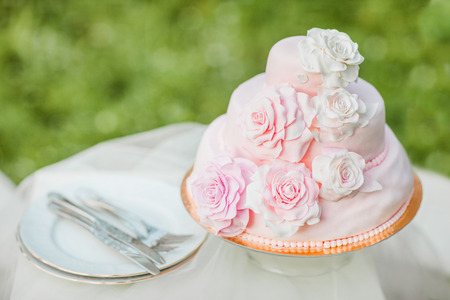 Pink and white wedding cake decorated with mastice rosette. Cake is on the table in front of natural green blurry background. Example of wedding serving. Stock Photo