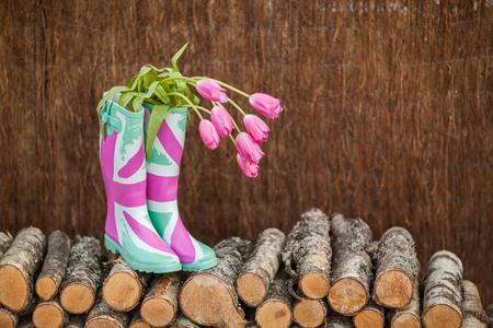 薪のスタックの背景に新鮮なチューリップとレインブーツ。季節の春のコンセプト。