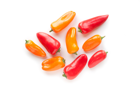 Fresh vegetables sweet Red, Yellow Peppers isolated on white background Stock Photo