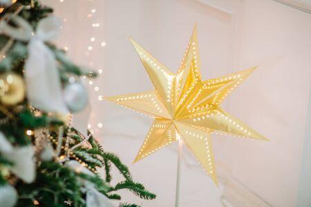 Golden christmas stsr. Stylish decoration.