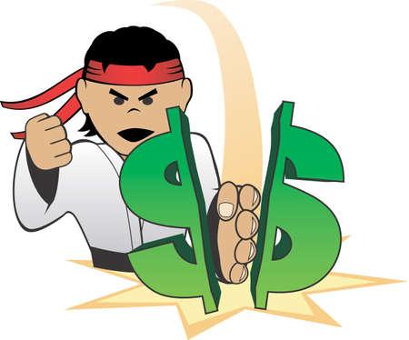 Karate Chopping Dollar Symbol Ilustração
