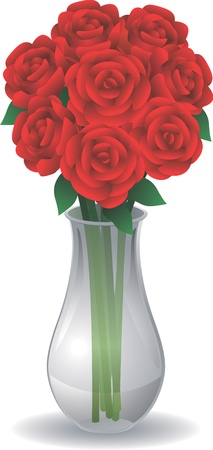 Roses in Glass Vase 向量圖像